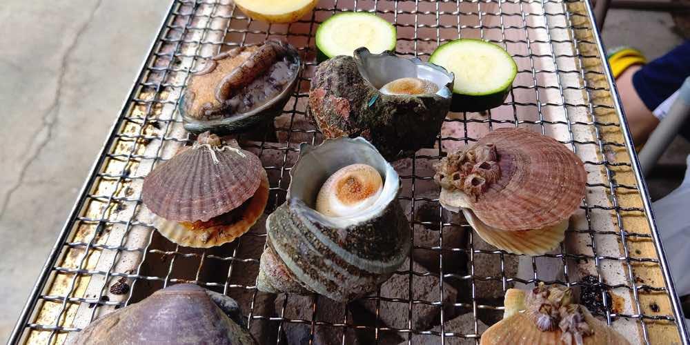 七輪で焼く海鮮バーベキュー